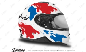 HEL 3652 Shoei Neotec II White The Globe Series Red Blue Stickers Kit Right