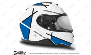 HEL 3655 Shoei Neotec II White Vector Series Blue Stickers Kit Right