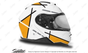 HEL 3656 Shoei Neotec II White Vector Series Yellow Stickers Kit Right
