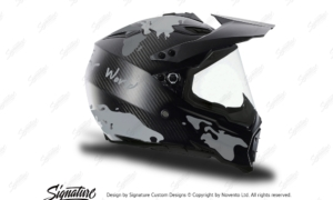 HEL 3738 AGV AX 8 DUAL Helmet Carbon The Globe Silver Variations Stickers Kit Right
