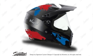 HEL 3739 AGV AX 8 DUAL Helmet Carbon The Globe Blue Red Stickers Kit Right
